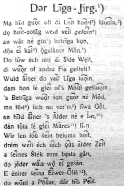 Zapis Wiersza Der Liga Jirg Dziedzictwo Językowe